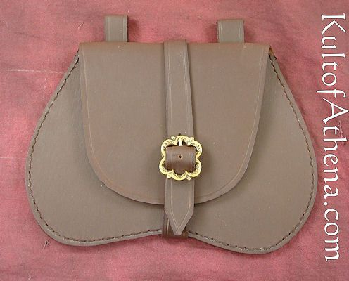 Leather Pouch with Flower Buckle - Brown