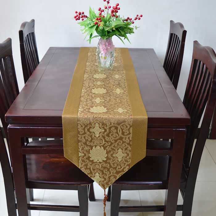 Elegant Chinese Knot Damask Dinner Table Runner Length Coffee Table Cloth Decoration Bed Runners Coffee Table Rectangle Coffee Table Cloth Cheap Table Runners