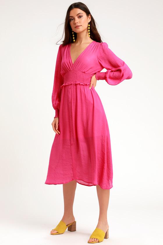 Go For It Bright Pink Long Sleeve Midi Dress Bright Pink Dresses Pink Dress Casual Long Sleeve Midi Dress