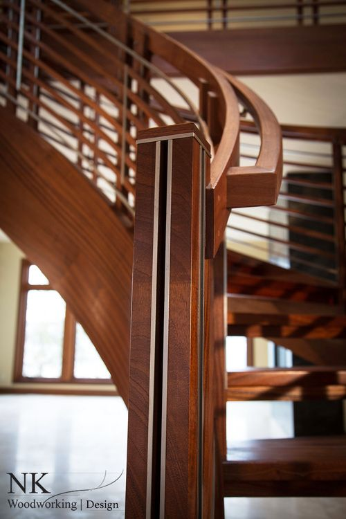 Best Nk Woodworking Floating Curved Stair In Sapele And 400 x 300