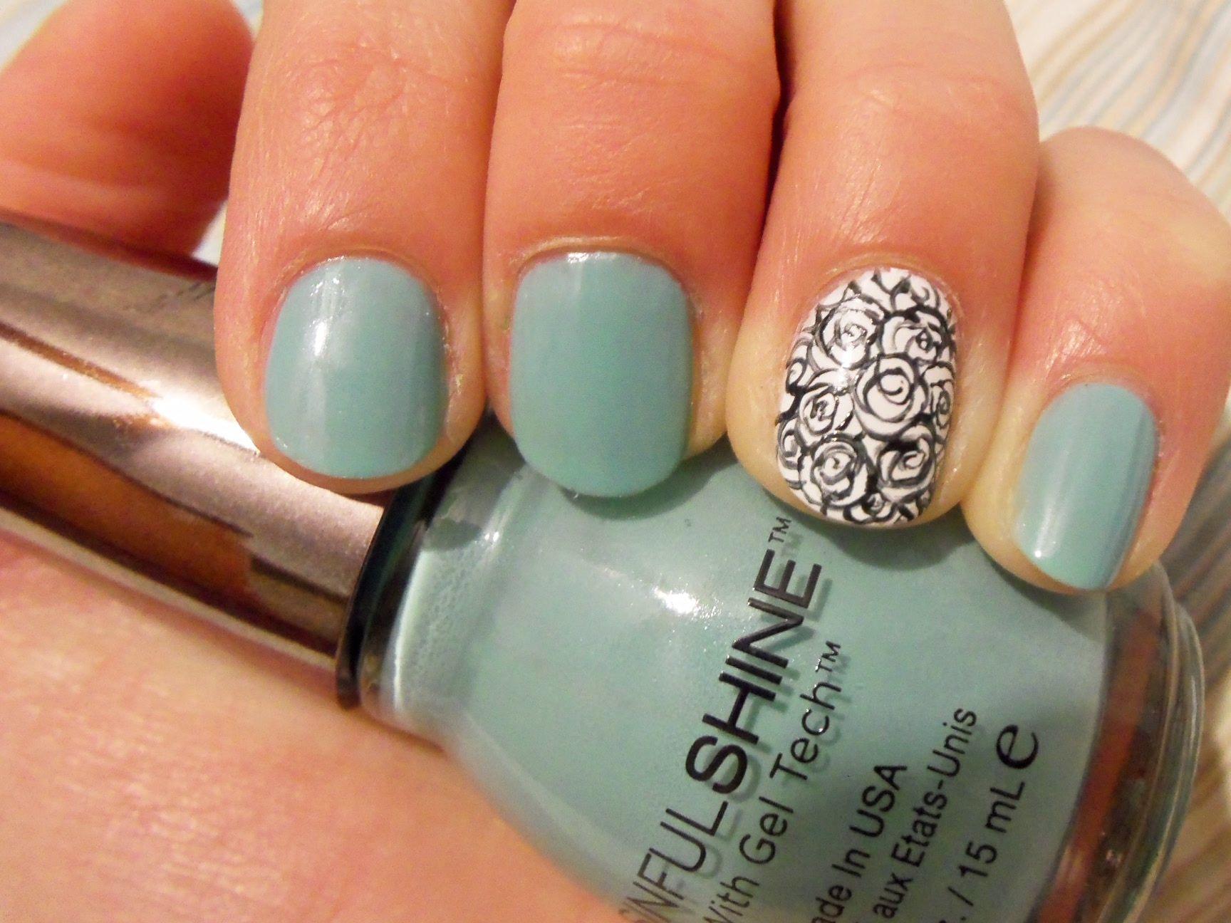 Miniature rose nails using Sinful Shine-Rendezvous #sinfulcolors #blackandwhite #essieblanc