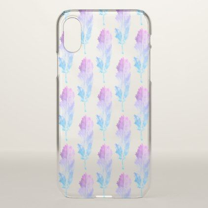 Purple Blue Watercolor Feather Pattern Clear Iphone X Case