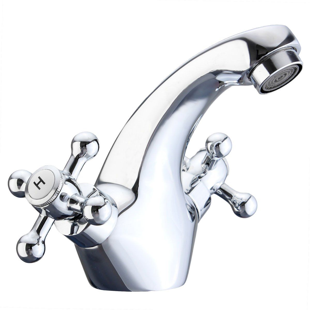 Solid Brass Basin Mixer Tap Hot/&Cold Water Tap for Kitchen Home Chromed Diamond Single Handle Bathroom Sink Faucet