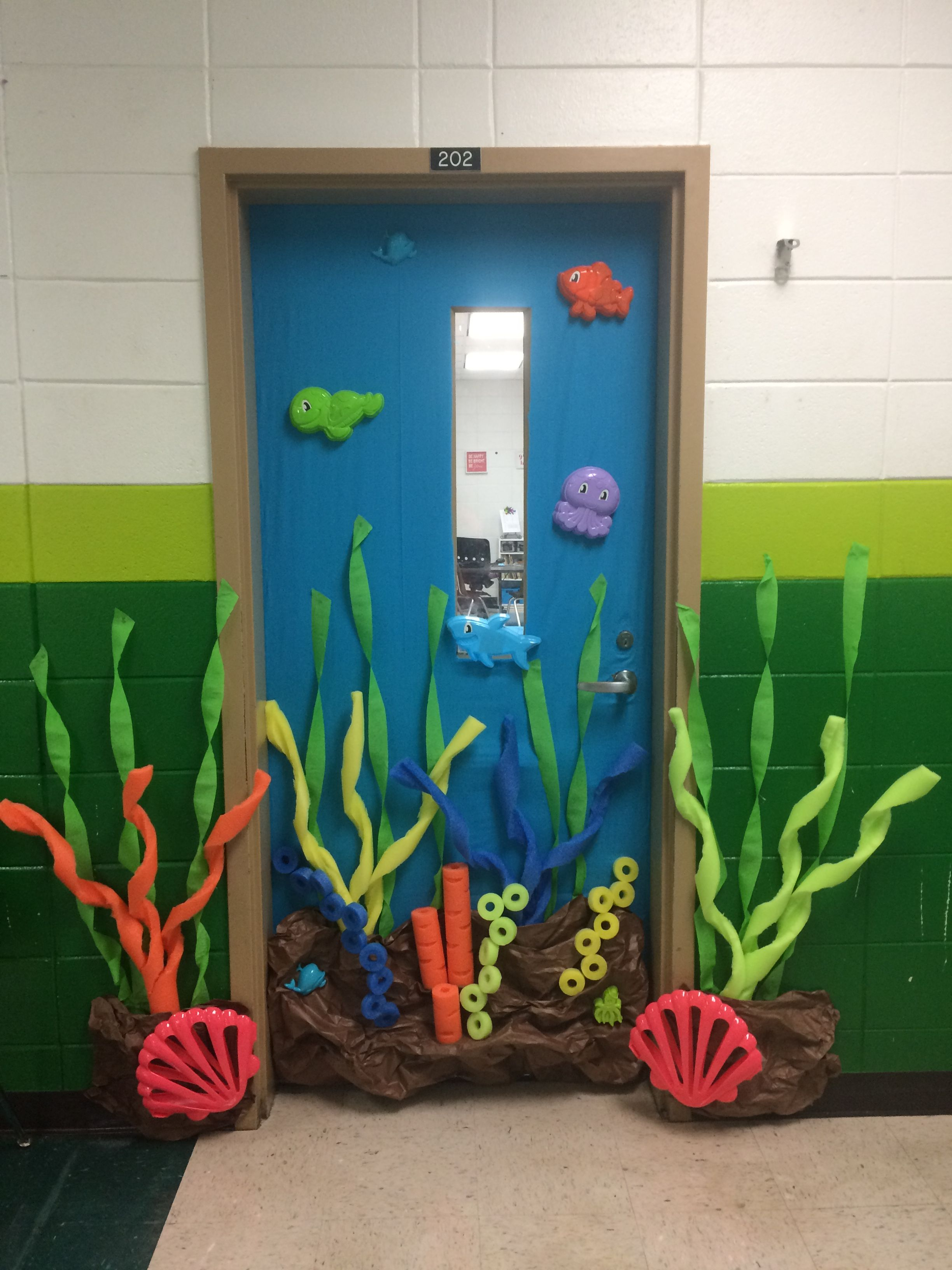 Under The Sea Classroom Door With Pool Noodles And Dollar Tree
