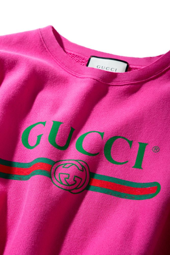 71ffb2348 Gucci's creative director, Alessandro Michelle, draws on the fashion  house's '80s legacy with a vintage-inspired logo sweatshirt in a new, pink  colorway.