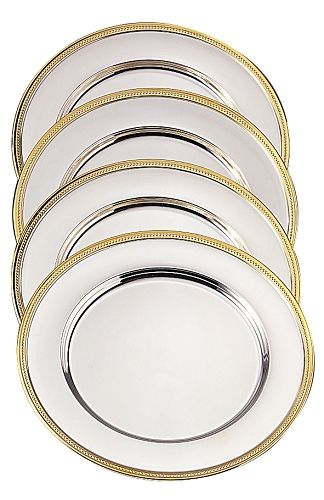Metal Charger Plates | Silver Plated Metal Charger Plate with Gold ...