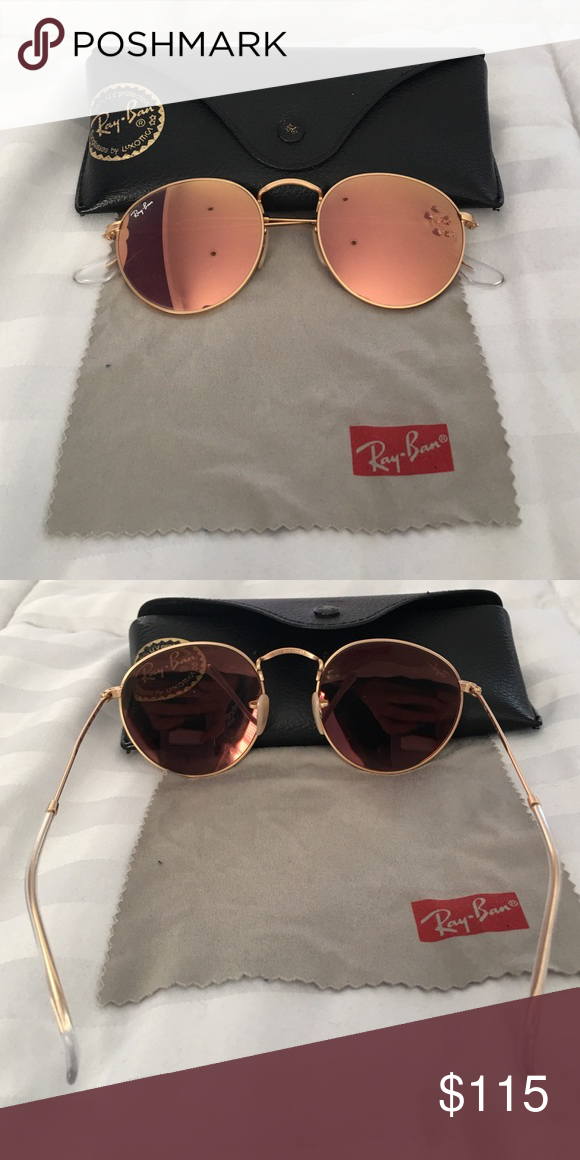 e6a52fa0d8 Circle shaped Ray Ban sunglasses Authentic rayban sunglasses. Rose gold  lens with gold outside. In excellent condition. Comes with case and  cleaning towel.