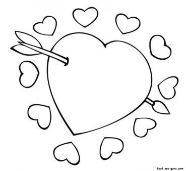 Free Printable Cupid Arrow Through The Heart Valentine Coloring