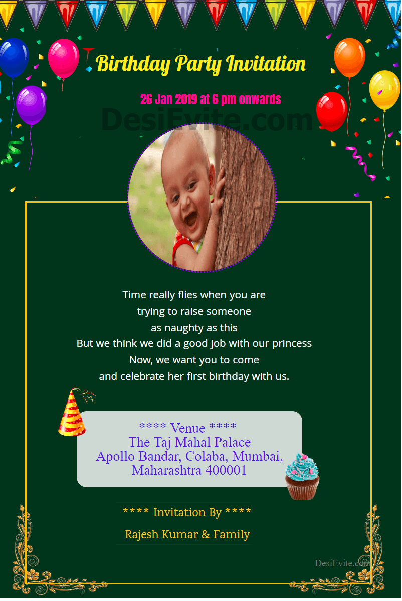 Create and download birthday invitation card for whatsapp  Free