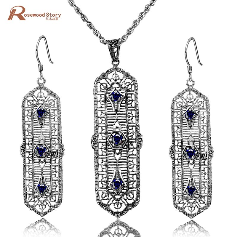 2ae40bc4a9 Click to Buy << Pure 925 Silver Sterling Jewelry Set Dark Blue Stone Cubic  Zirconia Vintage Women Earring Pendant Handmade Party Jewelry Sets  #Affiliate