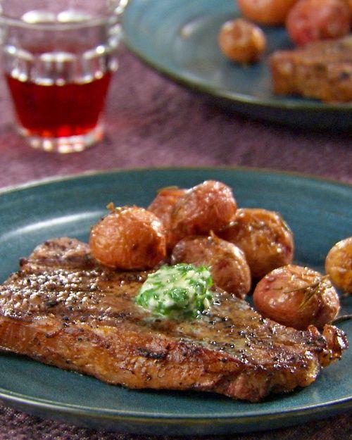 Grilled Strip Steak with Herb Butter - Martha Stewart Recipes