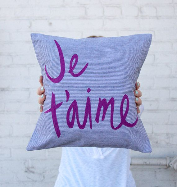 12 x 12 inch Je Taime Pillow  Grey and Purple by BrightJuly, $55.00