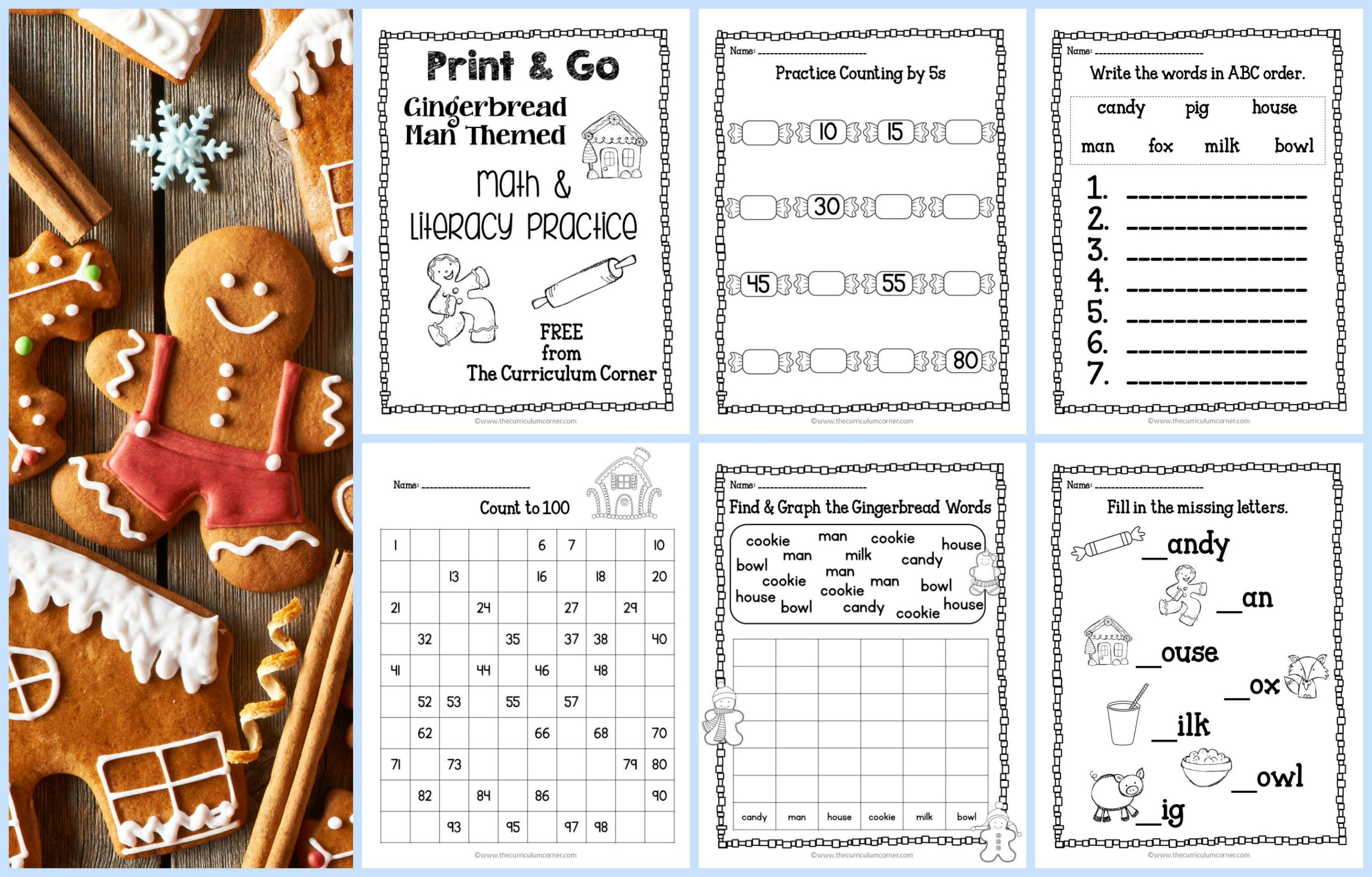 Gingerbread Print Amp Go Math And Literacy Practice