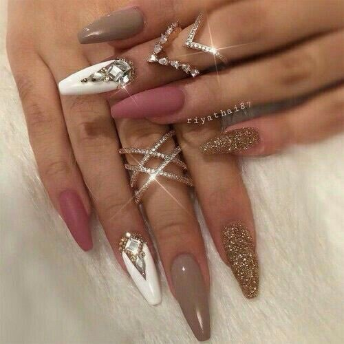 100 Beautiful rhinestone creative nail ideas design | Expensive ...