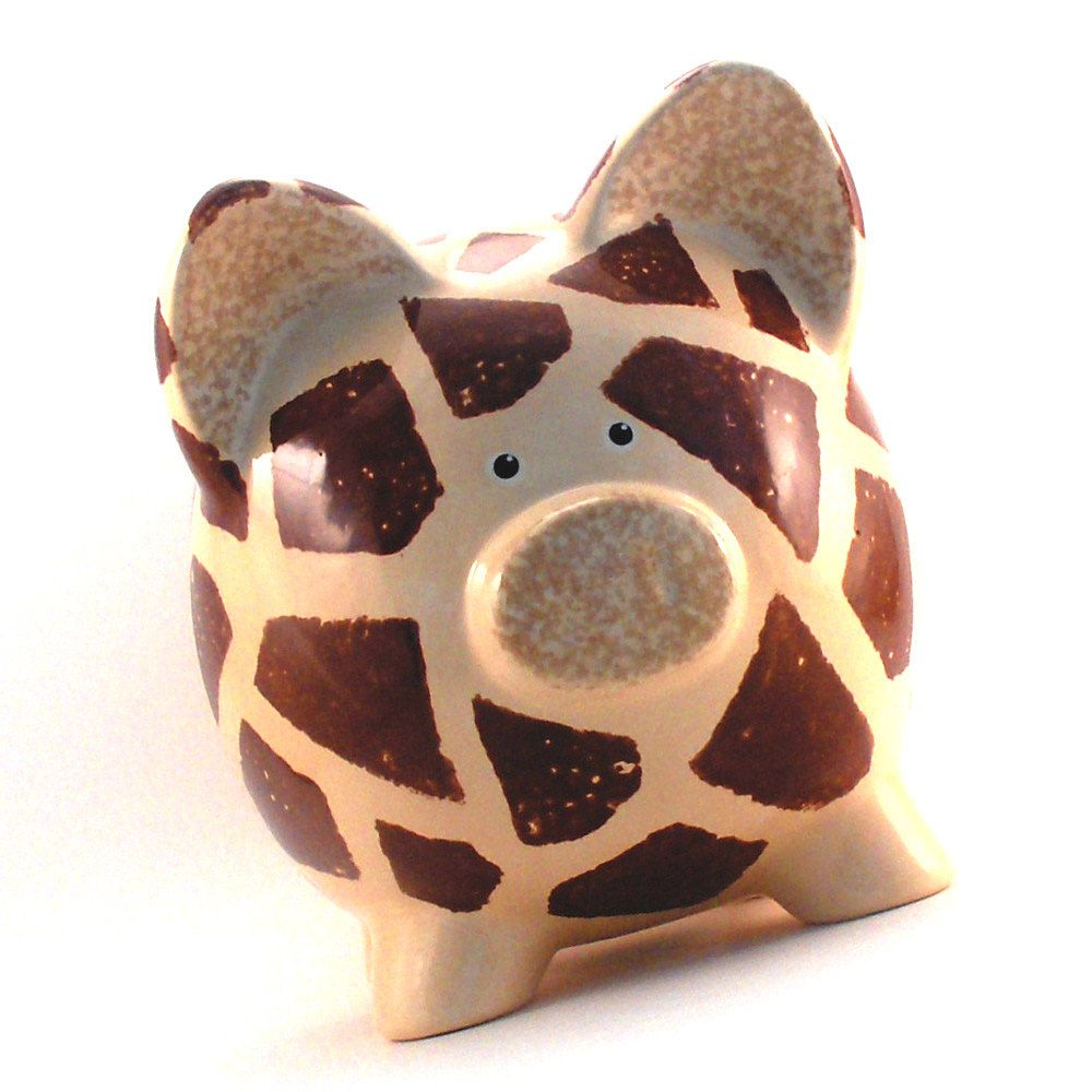 Personalized Piggy Bank - Giraffe Ceramic With Hole In Bottom Ready Ship. 45.50