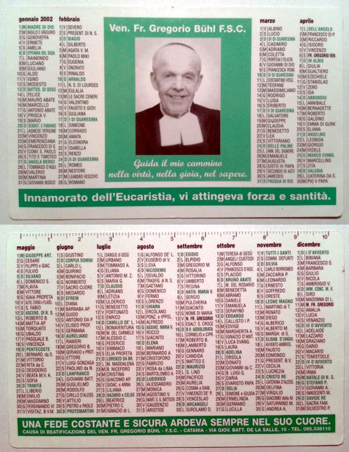 Calendarietto religioso 2002 - Causa di Beatificazione del Ve. Fr. Gregorio Bühl F.S.C.