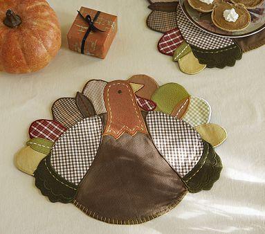 Fabric Turkey Placement Set Pbkids Thanksgiving Crafts