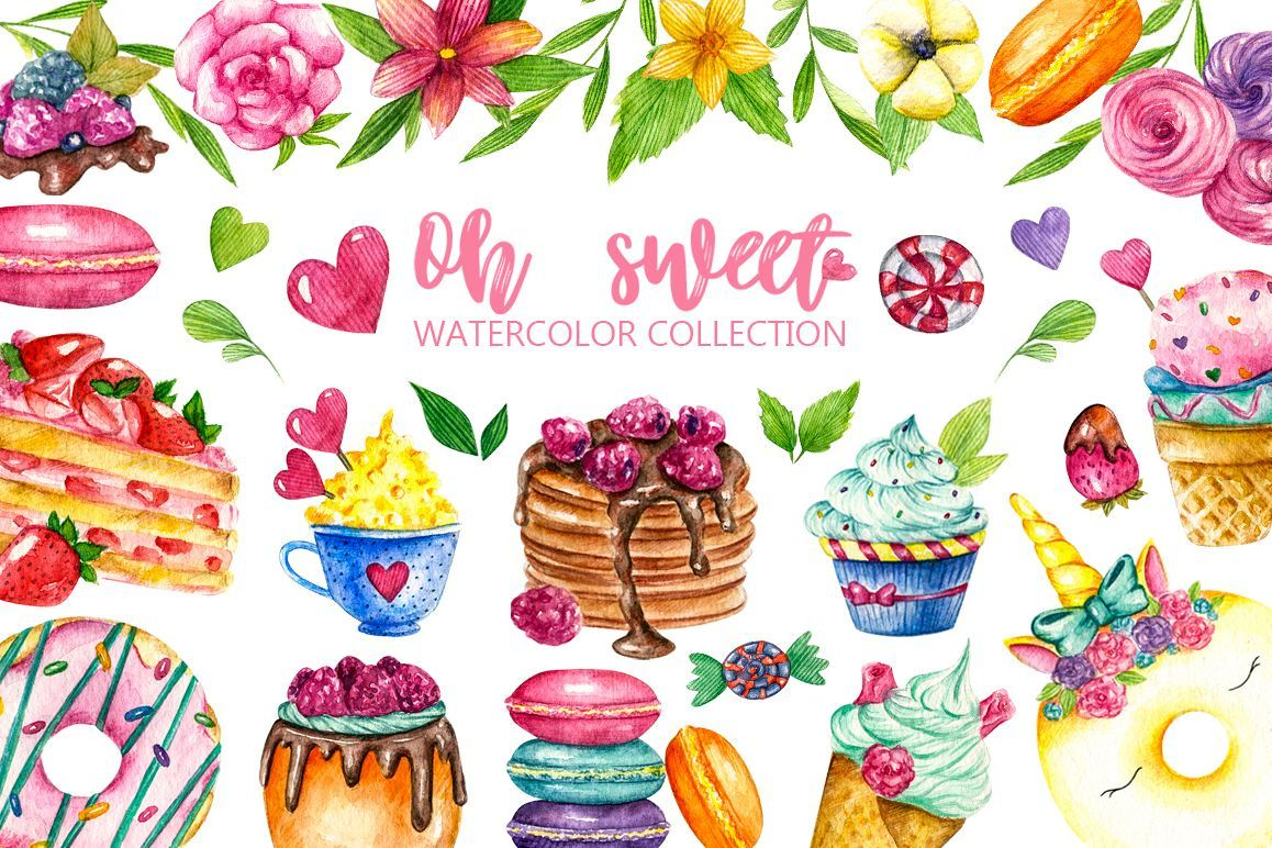 Sweets Confectionery Watercolor Clipart Donat Day Clip Art