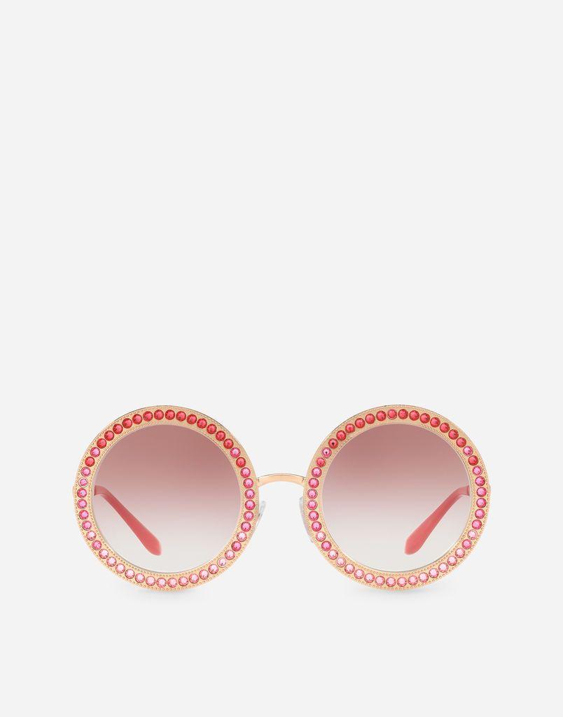 d6eb9f172ab9 Dolce   Gabbana - Swarovski Crystal-embellished Round-frame Rose Gold-tone  Sunglasses