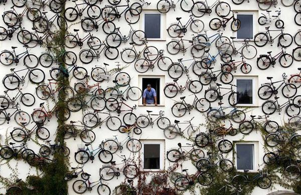 Bikes on a building!! So cool looking!
