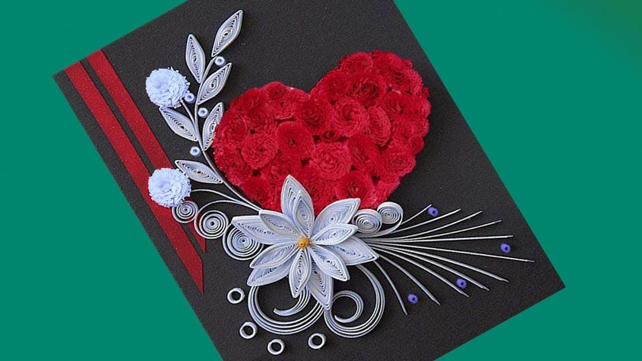 How to make Beautiful Flower with Heart Design Greeting