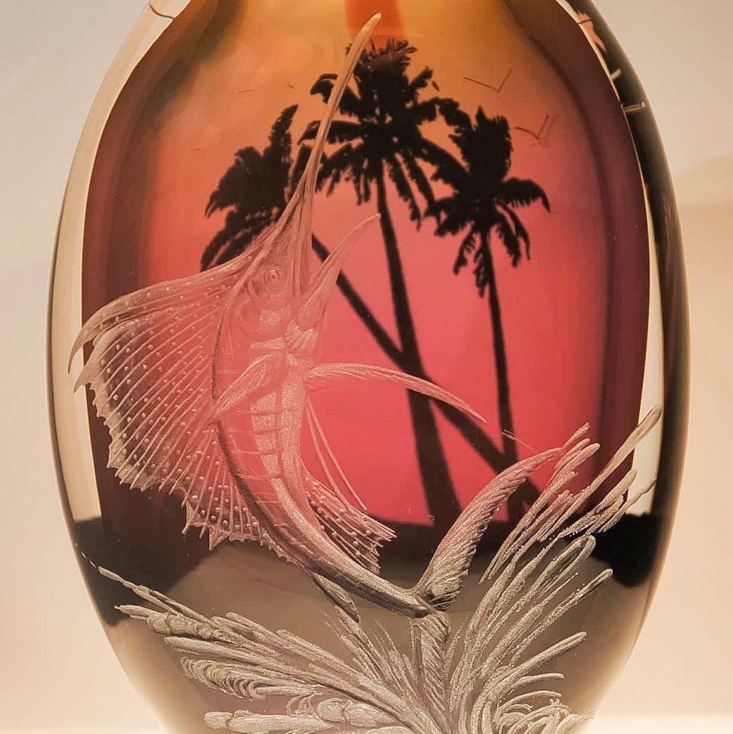 Hand Engraved Sail Fish Vase Handblown Vase Engraved Sail Etsy Hand Engraving Engraved Vase Fish Vase