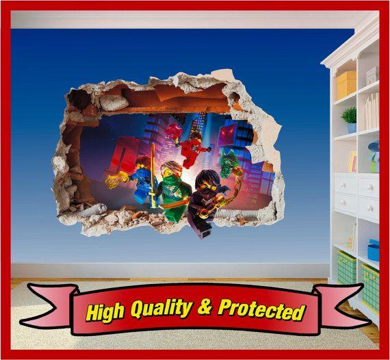 Lego Ninjago Hole In Wall Art Stickers Decal Childrens Bedroom - Superhero wall decalssuper hero wall art etsy