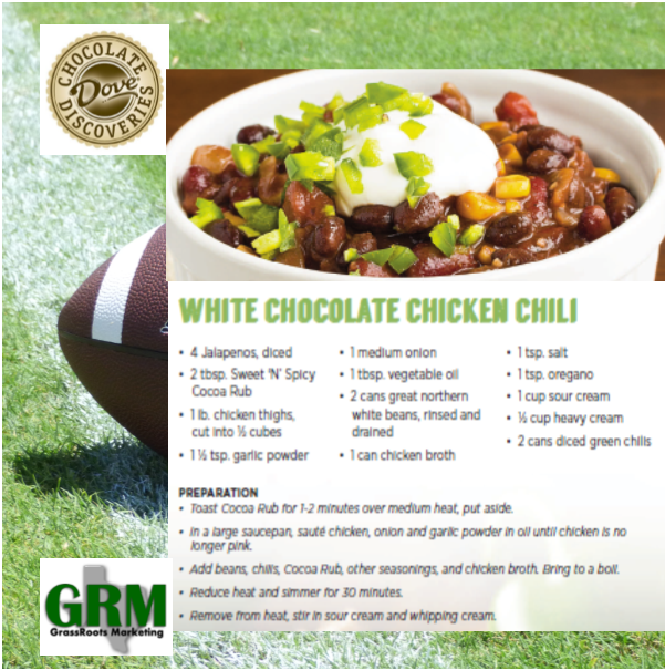 Dove Chocolate Discoveries White Chocolate Chicken Chili Football