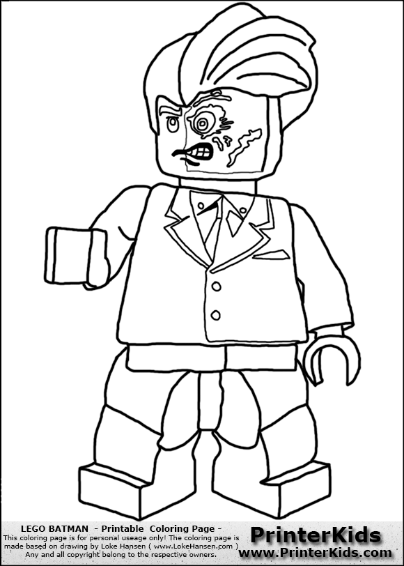 Color pages for batmans villians lego lego batman two face printable coloring page coloring page with a lego