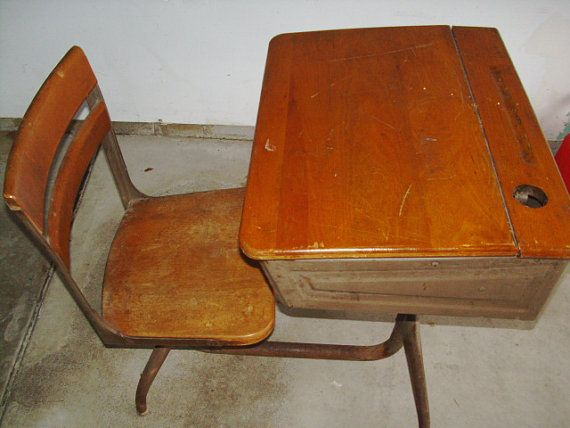 Phenomenal Vintage School Desk Wood With Ink Well Hole I Remember Interior Design Ideas Ghosoteloinfo