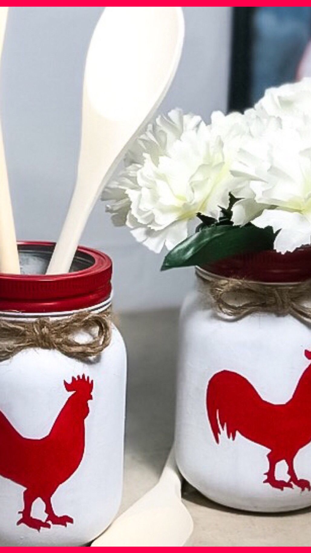 DIY Kitchen Farmhouse Decor – Rooster Utensil Holder Rustic Home Decor – Mason Jar Craft
