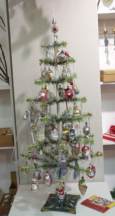 A True Vintage German Feather Tree With  Year Old Molded Ornaments