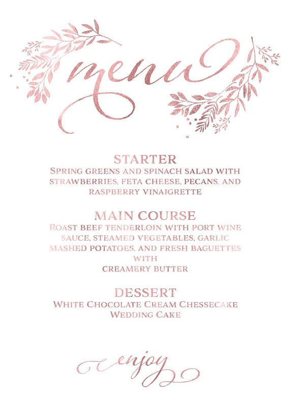 Menu Template - Menu Card - Rose Gold Wedding Dinner Menu Card