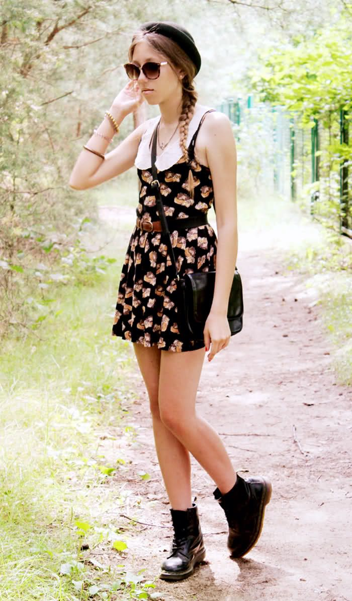 9fba00defb6a colar and floral dress Doc Martens Style