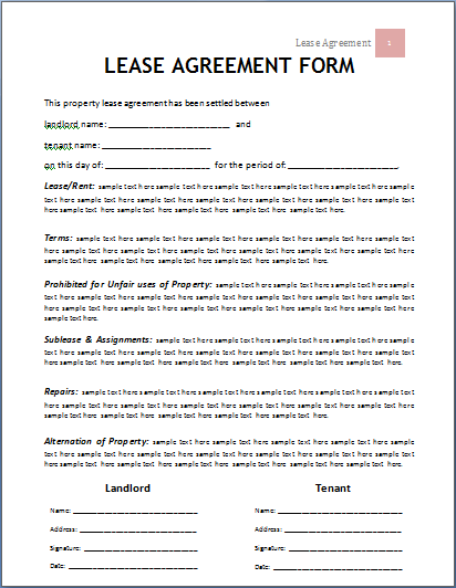 Ms Word Lease Agreement Form Template Word Document Templates Rental Agreement Templates Lease Agreement Free Printable Lease Agreement