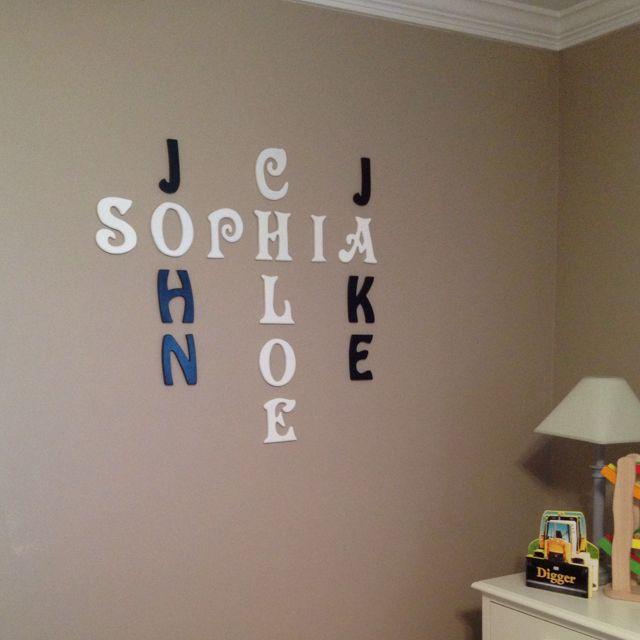 Crossword Puzzle Of Your Kids Or Grandkids Names Floating Shelves Diy Letter Wall Diy Shelves