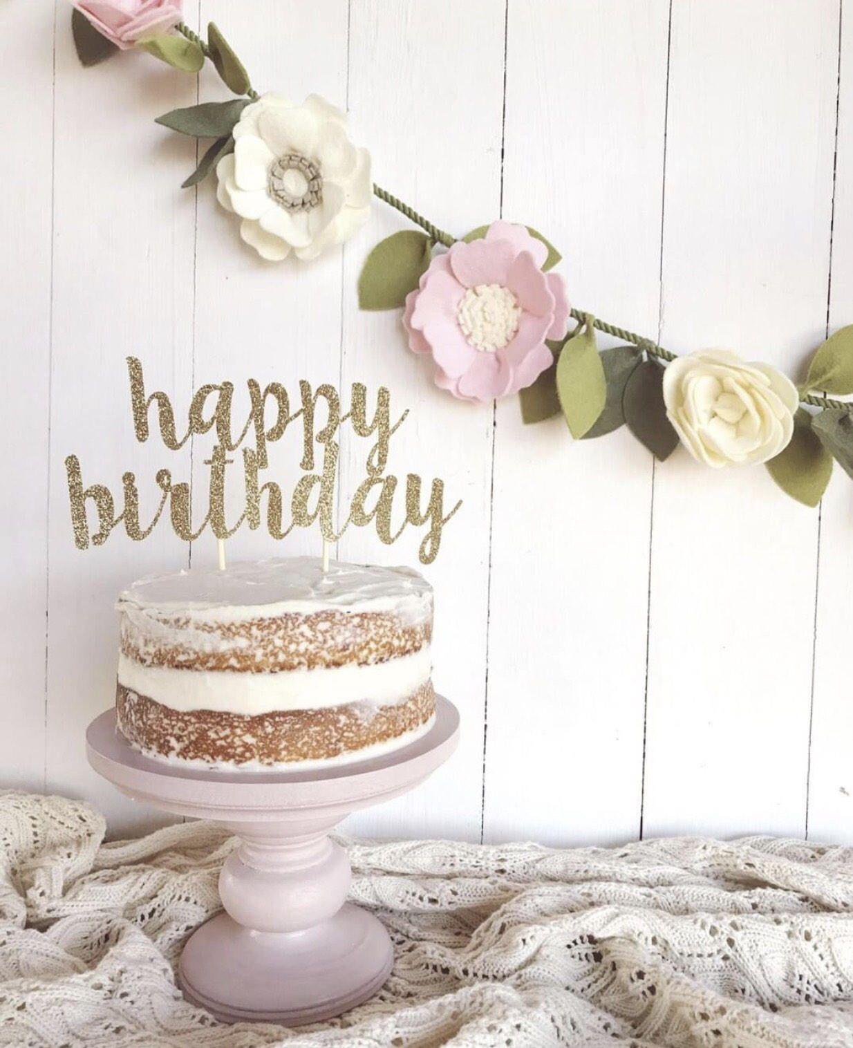 Happy Birthday Cake Topper by GlitterPartyCo on Etsy