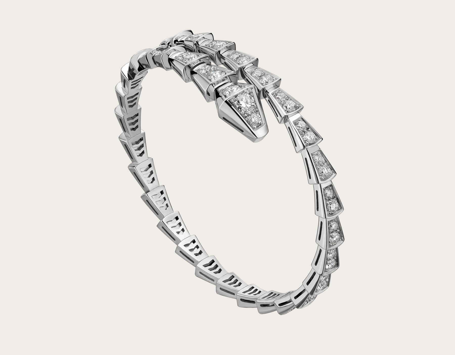 serpenti slim bracelet in 18k white gold with pave diamonds