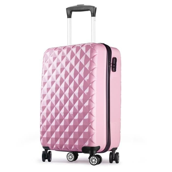 Valise Cabine 55 Cm Abs Bagage Cabine Rigide 4 Roues Avion Ryanair 4 Couleurs 40l Rose Valise Valise Cabine Bagage