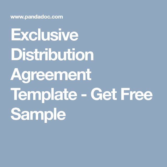Exclusive Distribution Agreement Template  Get Free Sample