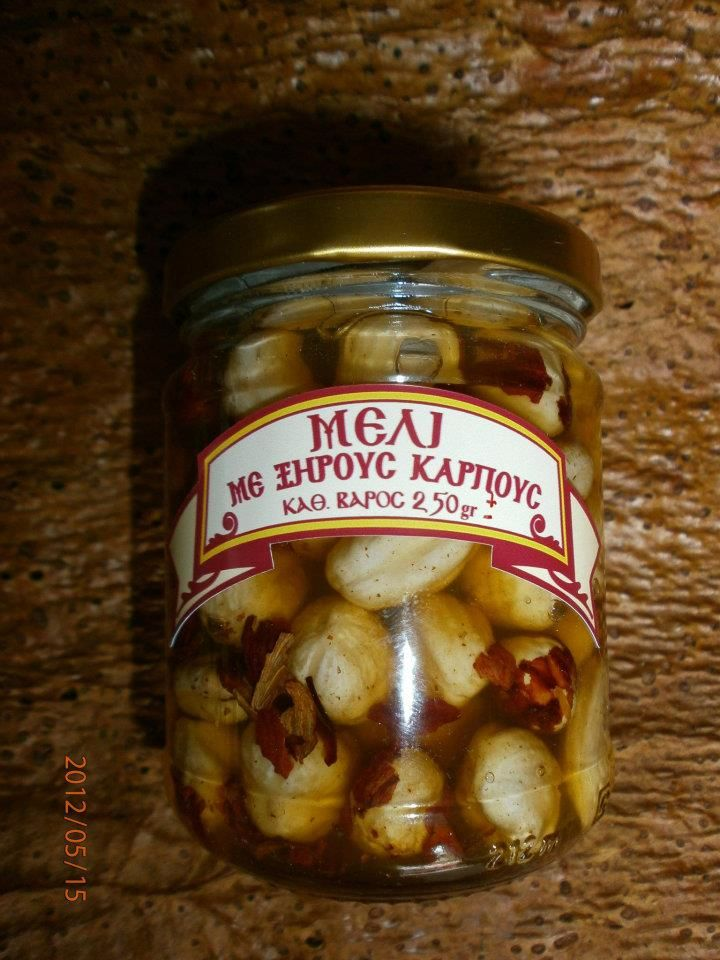 PINE HONEY WITH HAZELNUTS  Monastery pine honey with hazelnuts. Very energizing, nourishing and beneficial. It is eaten plain, with yogurt, light cream, pancakes, etc.    Net Weight: ~ 250 gr.
