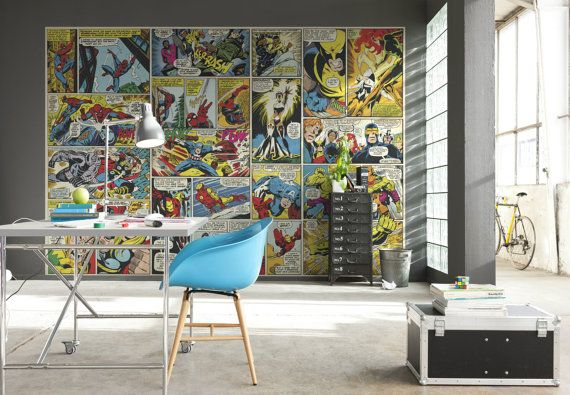Photo Wall Decal Mural Photography Wallpaper Marvel Comic Heroes Spider-Man, Captain America, The Avengers, Hulk Children's Art Wall Decals sur Etsy, $95.31 CAD