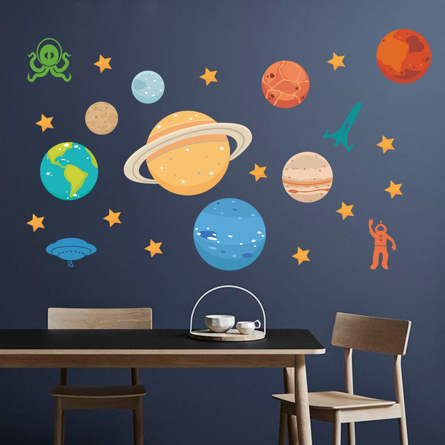 10464ab64cfd Baby Robot Rocket Star Planet Space wall decals Removable stickers kids nursery  decor