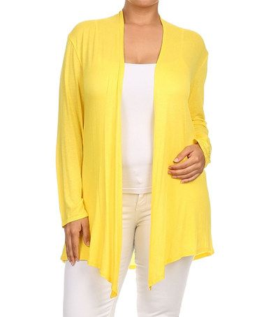 Look what I found on #zulily! Bright Yellow Open Cardigan - Plus ...