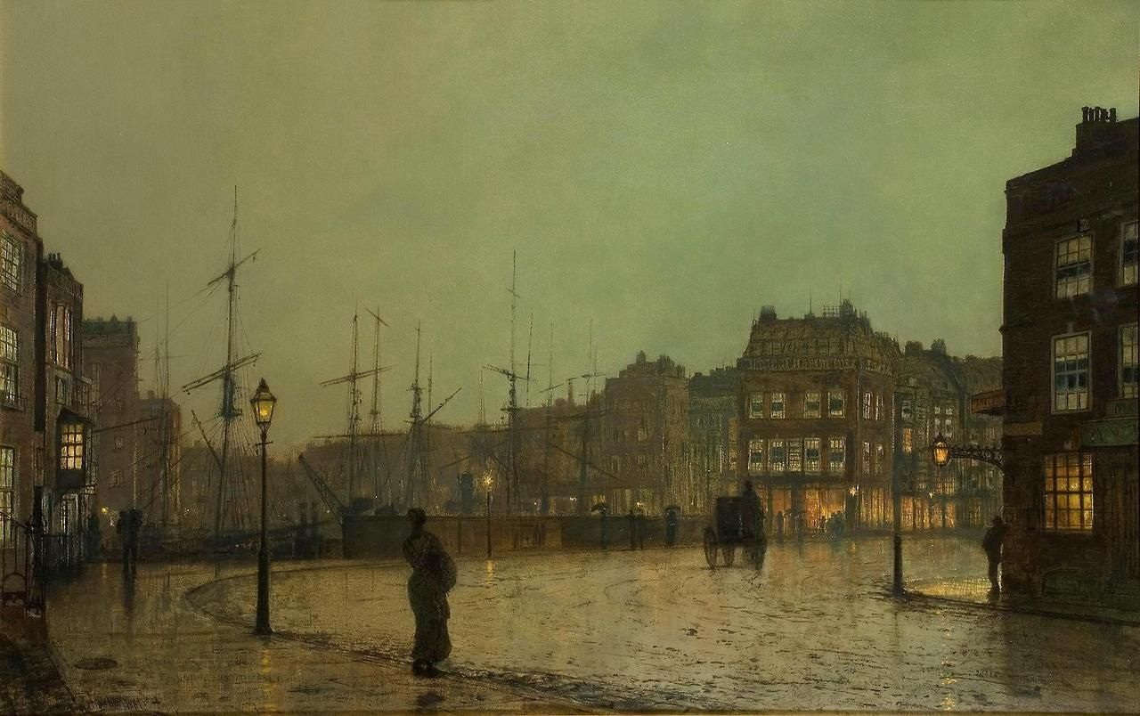 Greenock Shipping John Atkinson Grimshaw (British, 1836–1893)  Oil on canvas, 48 x 76 cm, 1881. Private Collection.