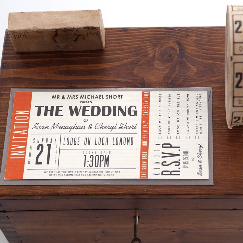 Vintage Wedding Ticket Style Invitations DIY Set printable – Invitation Ticket