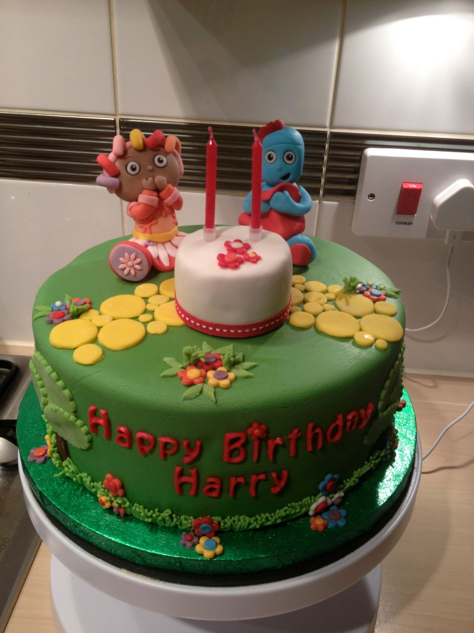 In The Night Garden birthday cake with a tiny birthday cake and ...