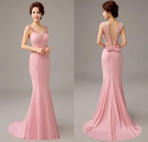Pretty 2016 New Pink Mermaid Evening Dress with Pearls and Bow ...
