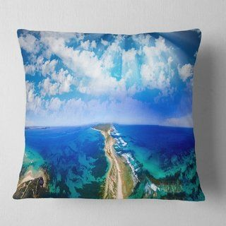 Designart 'Blue Fort Nepean Road from Helicopter' Landscape Printed Throw Pillow (Square - 18 in. x 18 in. - Medium), DESIGN ART(Polyester, Nature)