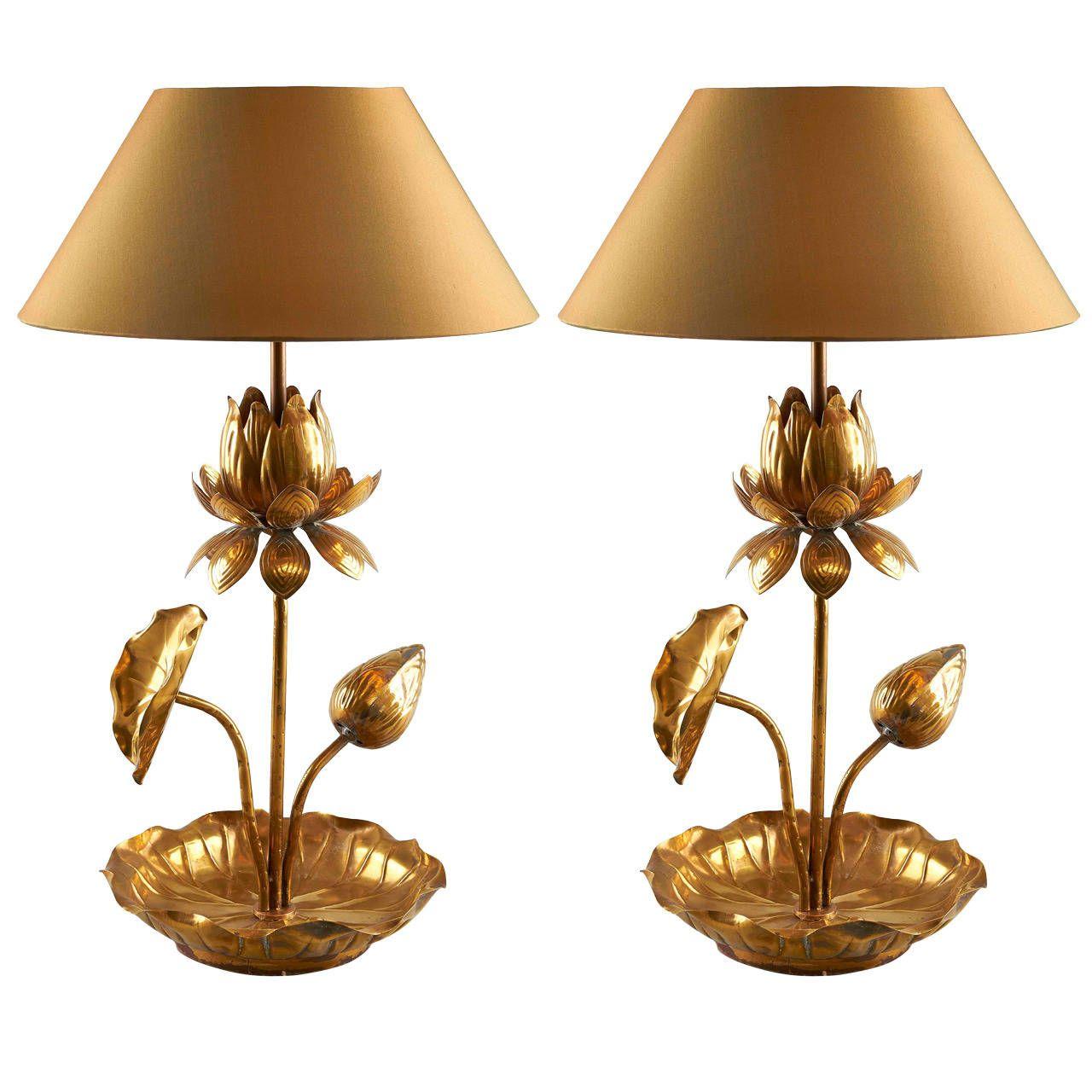 Elegant pair of brass lotus table lamps lotus elegant and modern elegant pair of brass lotus table lamps izmirmasajfo